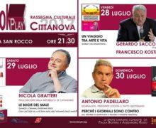 Gerardo Sacco, Nicola Gratteri e Antonio Padellaro a Cittanova: il 28 luglio parte la rassegna BOOKtoPLAY