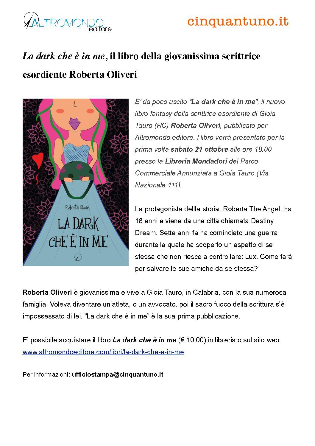 """Presentato a Gioia Tauro """"La dark che è in me"""", il libro della giovanissima scrittrice Roberta Oliveri"""