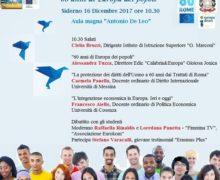 """Siderno : """"60 anni di Europa dei popoli""""  i giovani dell'ITC Marconi discuteranno di Europa diritti dei cittadini e crescita economica"""