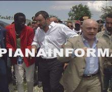 Il Ministro degli Interni Matteo Salvini, a Palmi e alla tendopoli di San Ferdinando