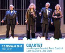 """Quattro grandi attori per un grande spettacolo: """"Quartet"""" il 22 gennaio al Teatro Comunale di Catanzaro per la rassegna teatrale Vacantiandu"""