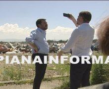 Il Ministro dell'interno Matteo Salvini in visita alla tendopoli