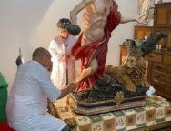 Iniziato il delicato intervento di restauro della monumentale statua di San Girolamo a Cittanova