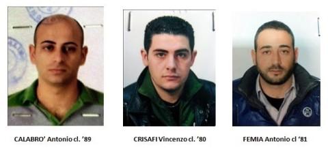 FEMIA Antonio cl '81 , CALABRO' Antonio cl. '89 e CRISAFI Vincenzo cl. '80