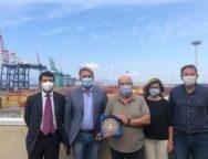Marco Simiani, responsabile Infrastrutture del Partito Democratico, in visita al Porto di Gioia Tauro.