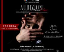 La Scuola di Recitazione della Calabria promuove una proroga per le Audizioni della MasterClass entro il 12 Dicembre
